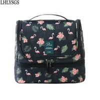 LHLYSGS Brand Women Double Storage Large Waterproof Makeup Bag Travel Cosmetic Bag Organizer Case Necessaries Wash