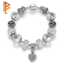 BELAWANG Antique Silver Beads Bracelet With Clear Murano Glass Crystal Heart Charm Fit Original Bracelets for