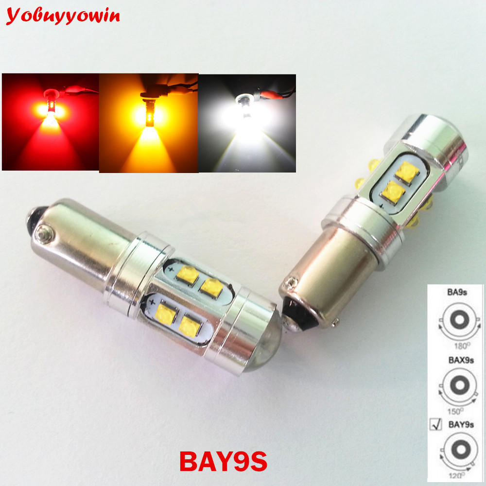 Free Shipping 2pcs <font><b>H21w</b></font> <font><b>BAY9S</b></font> 433D Cree Chips <font><b>Led</b></font> White/Amber/Yellow/Red Canbus <font><b>LED</b></font> Reverse Lights 50W For VW CC MG3 Citroen C5 image