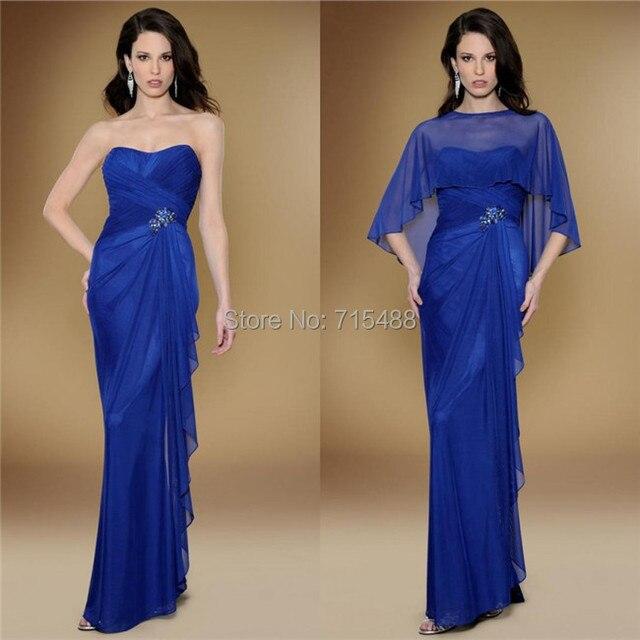 Elegant Royal Blue Chiffon With Jacket Ruffle Beaded Ladies Western Fashion Mature  Women Vestido De Novia Dinner Evening Dresses 02be27c55c5c
