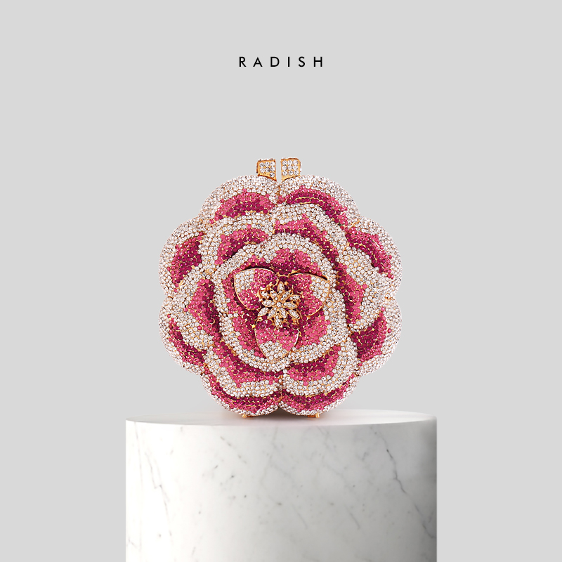 RADISH Dazzling Pink Crystal Women Different Rose Flower Patterns Evening Bags Wedding Party Bridal Diamond Floral HandbagRADISH Dazzling Pink Crystal Women Different Rose Flower Patterns Evening Bags Wedding Party Bridal Diamond Floral Handbag