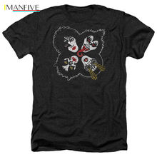 Kiss Band ROCK AND ROLL HEADS Licensed Adult Heather T Shirt All Sizes Summer Style Mens T-Shirt недорого