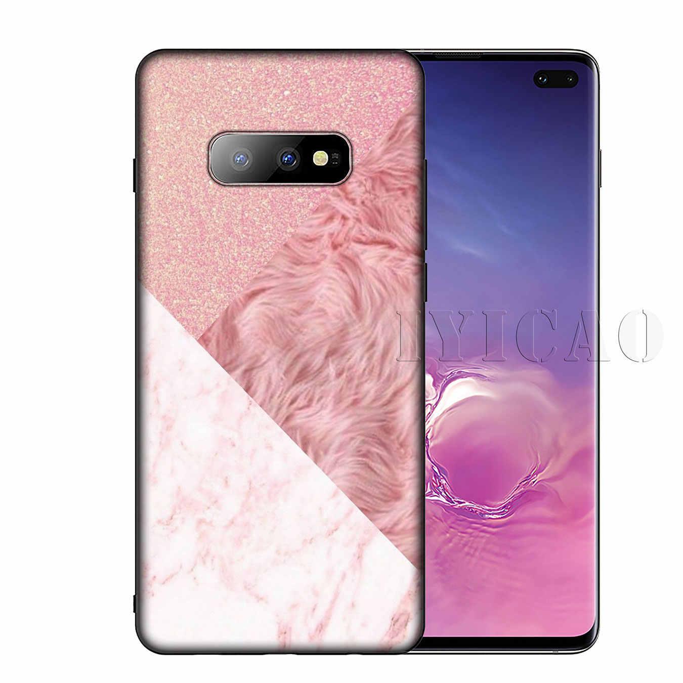 Iyicao Đá Cẩm Thạch Vàng Hồng Hoa Hồng Lấp Lánh Bụi Silicon Mềm Ốp Lưng Điện Thoại Samsung Galaxy S10 S9 S8 Plus S6 S7 edge S10e E Bao