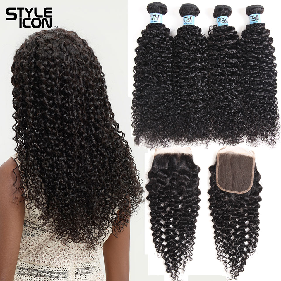Styleicon Curly Hair Bundles With Closure Cheap Brazilian Kinky Curly Hair With Lace Closure 3 4 Bundles 8-28inch With Closure