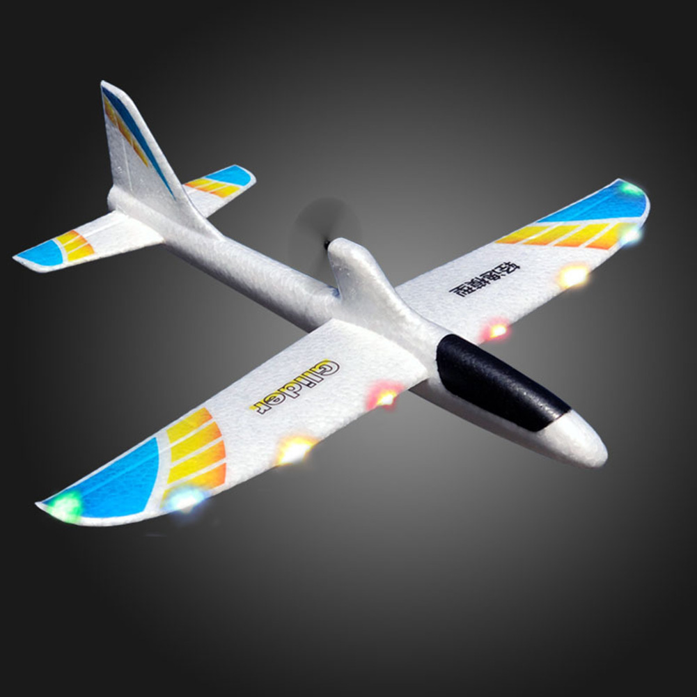 Airplane Model DIY Hand Throwing Gift Glider RC For Children Kids Educational Toy Capacitor Electric Foam Launch With Light