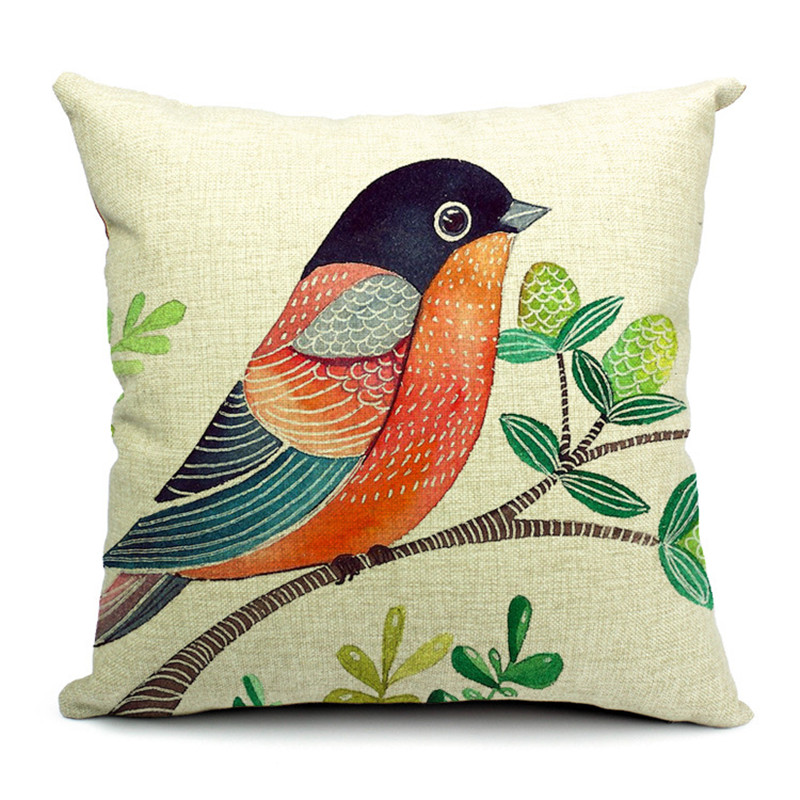 Country Style Cushions Painted Famous Bird Leaves Fruit Field Garden Decorative Girls Car Outdoor Living Room Pillow Case Cover Candles & Holders Active Components