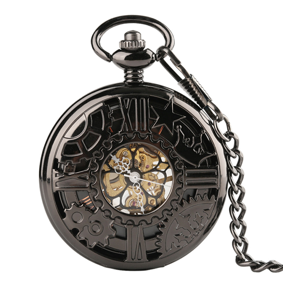 Black Hollow Gear Wheel Design Hand Wind Mechanical Pocket Watches With 30cm Chain Vintage Skeleton Dial Men Watches Clock Gifts