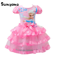 2017 Toddlers Baby Girl Elsa Princess Dress Blue Pink Girl Clothes Anna Dress Girls Elza Girls