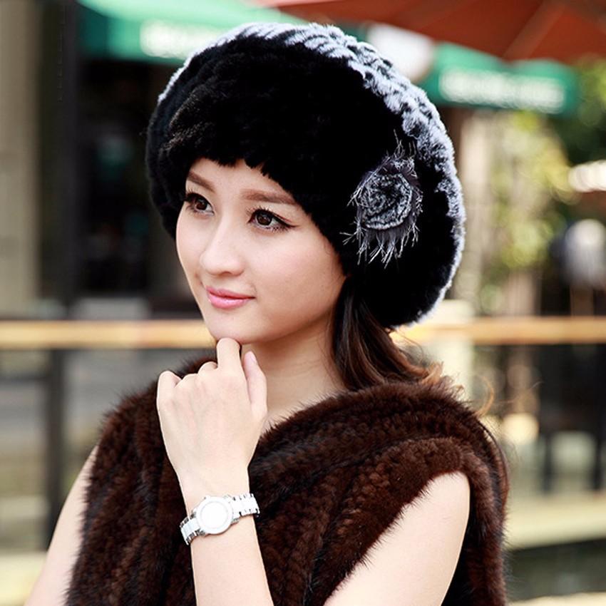 YCFUR Boinas Chapéus de Inverno Quente Para As Mulheres Handmade ... edf9d3e153f