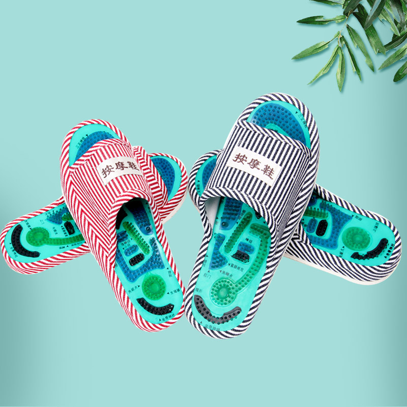 Healthy Striped Pattern Reflexology Foot Acupoint Slipper Massage Promote Blood Circulation Relaxation Foot GOOD Care Shoes 25cm