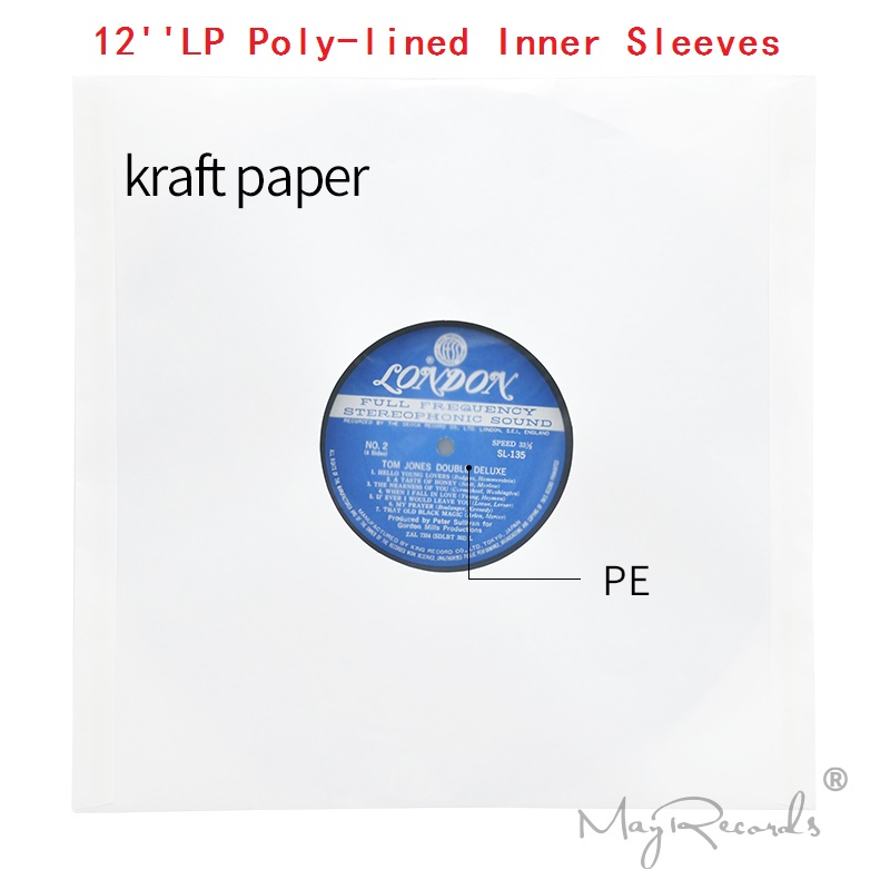 20 High Quality Heavyweight Anti-static White Kraft Paper Poly-lined Inner Sleeves For 12'' LP Record Vinyl