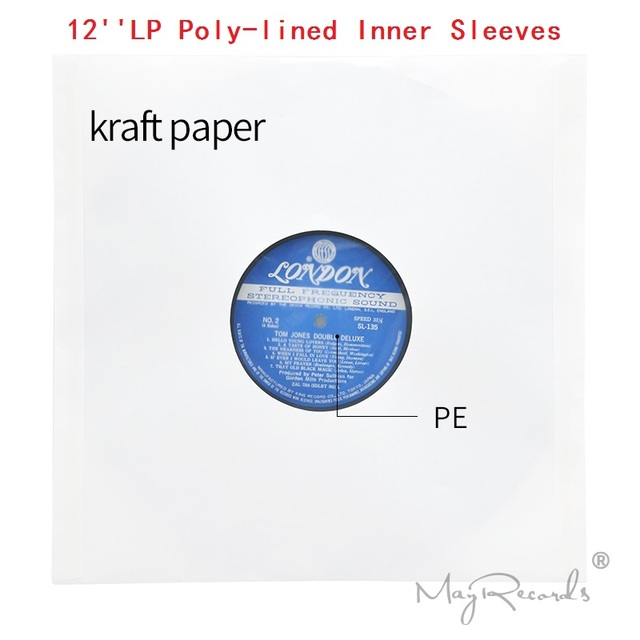 20 High Quality Heavyweight Anti static White Kraft Paper Poly lined Inner Sleeves For 12 LP Record Vinyl