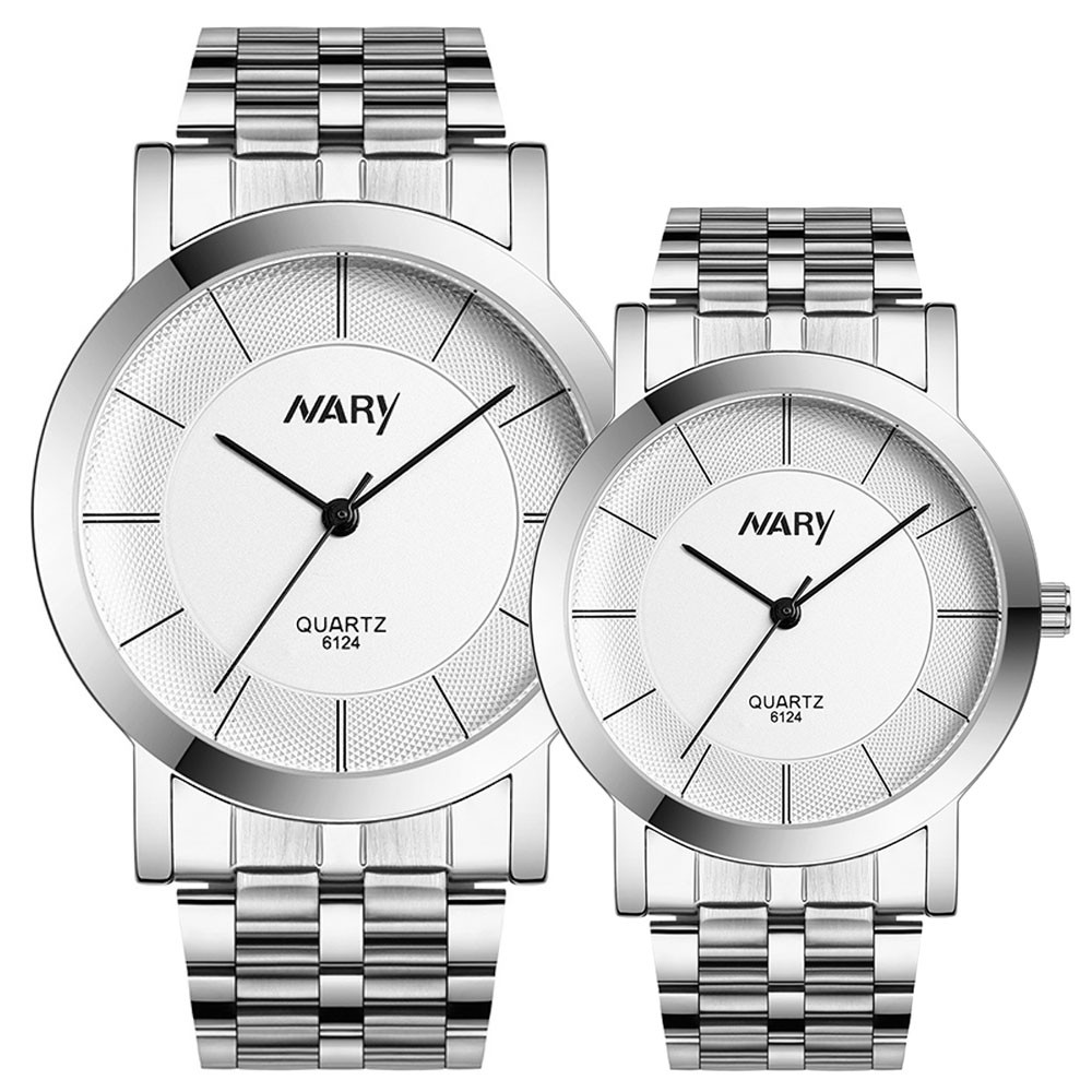 1 Pair Couple Watch Women Sliver Stainless Steel Band Quartz Wathes Men Luxury Business Wristwatch Relogio Masculino As Gift