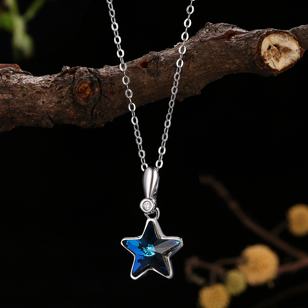 Crystals from Austria  Elements necklace,S925 sterling Silver, Star inlaid pendant necklace, popular jewelry wholesale