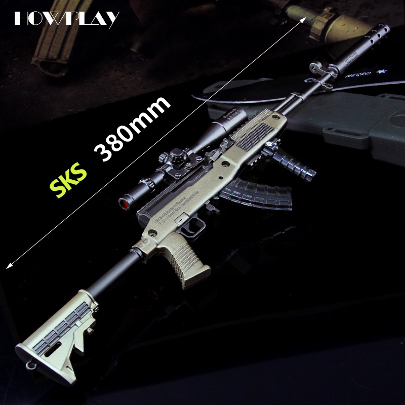 HowPlay toy gun metal SKS sniper gun Playerunknown's Battlegrounds Game Keychain boy war toy rifle AWM AKM M24 M416 MK14 Kar98k недорго, оригинальная цена