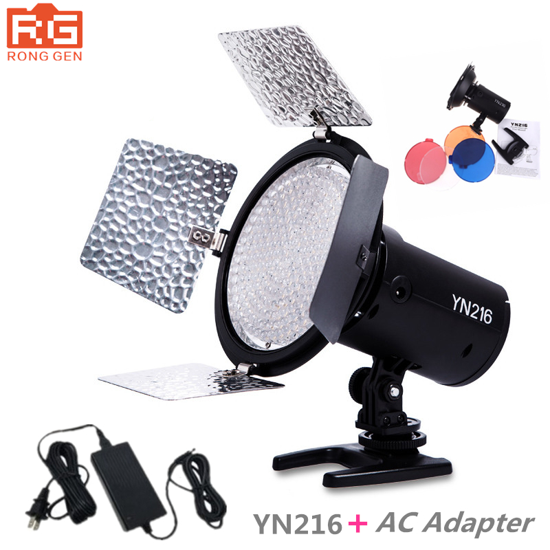 Yongnuo YN-216 YN216 LED Studio Video Light Photography and 4 color charts + AC adapter for Canon Nikon Sony Camcorder DSLR