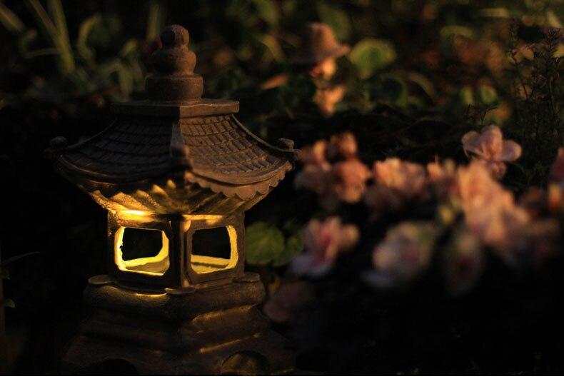 lampe solaire en resine de style japonais lanterne de paysage decoration zen pour jardin et maison