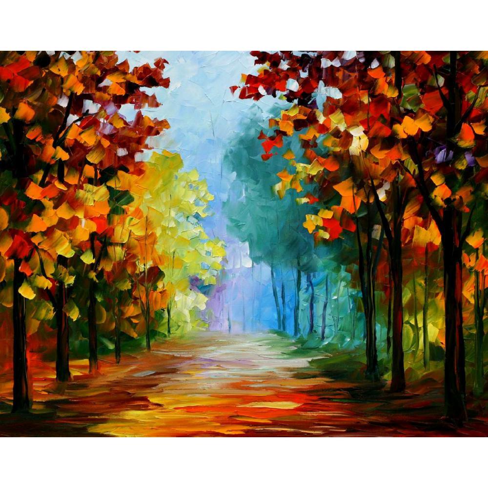 US $72 09 OFF Lukisan Pemandangan Yang Indah Biru Kabut Di Hutan Pisau Palet Art On Canvas Dinding Untuk Ruang Tamu The Paintings Landscape