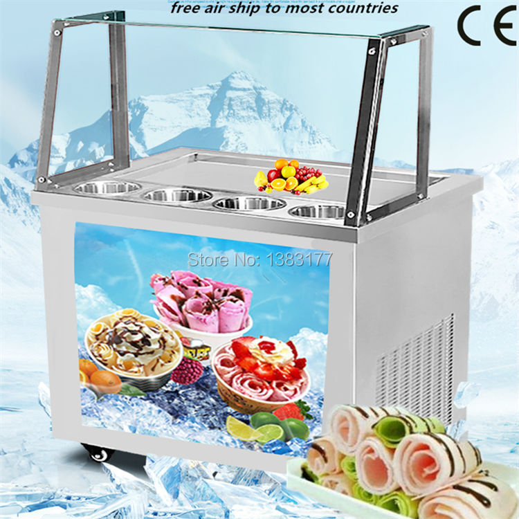 2017 free air ship to your home CE thai  ice machine  fry ice cream rolls machine fried ice cream machine with glass cover free air ship to your home ce r410 single pan 304 stainless steel fried ice cream roll machine fried thai ice machine for sale