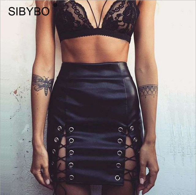 Sibybo 90s Lace-Up Faux Leather Skirt Black Women Classic Vintage High Waist  Criss Cross Mini Skirts jupe longue femme f830d7d25ab0
