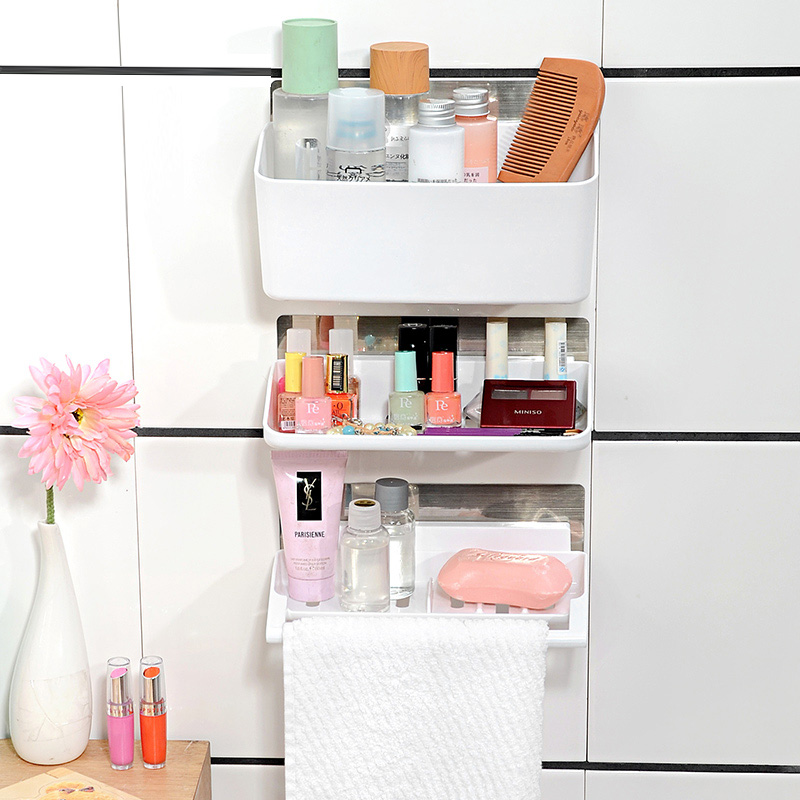 Большой емкости трассировки наклейки Полки для ванной три комплекта, Ванная комната полотенце висит косметический стеллаж для хранения