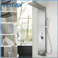 Contemporary Bathroom Faucets Bath Rainfall Shower Panel Rain Massage Single Handle Shower Faucet Set with Jets & Hand Shower