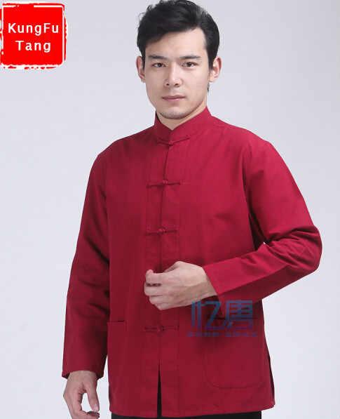 52f5b3eb56c4c KungFuTang красный кунг-фу рубашка 100% хлопок старый грубый Костюм Танг  Мужской Тай Чи