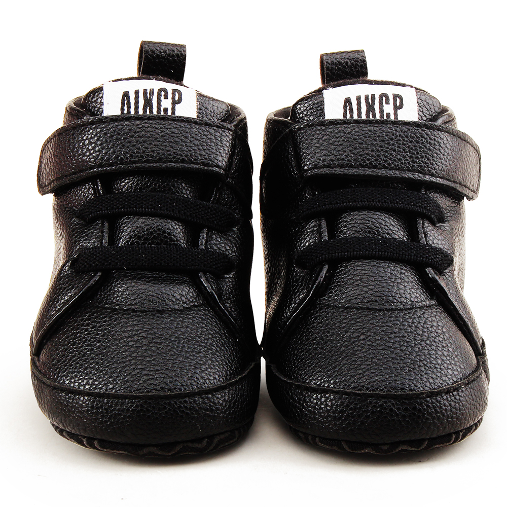 Купить с кэшбэком Delebao High State Department With Magic Stickers Leather Baby Shoes Rough PU First Walkers Lace-up Soft Sole Baby Boy Shoes