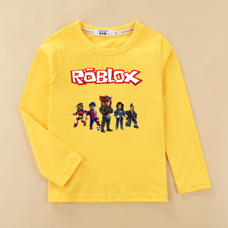 Boys fashion roblox 3D t shirt kids 100% cotton fall O-neck clothes roblox pattern shirt long sleeve casual tshirt tops baby tee breast pocket v neck long sleeve t shirt