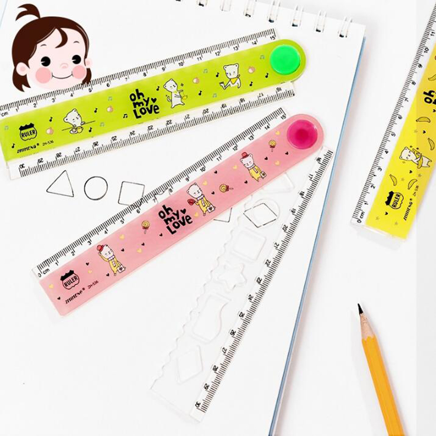 1PC 30cm Kawaii Candy Color Multifunction Folding Plastic Straight Ruler For Kids Creative Student Gift Office Stationery