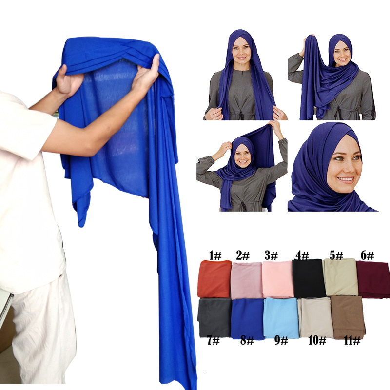 Muslim Women Ready To Wear Instant Jersey Hijab Scarf Islamic Soft Headscarf Hijabs Turban Foulard Femme Musulman Arab Headwear