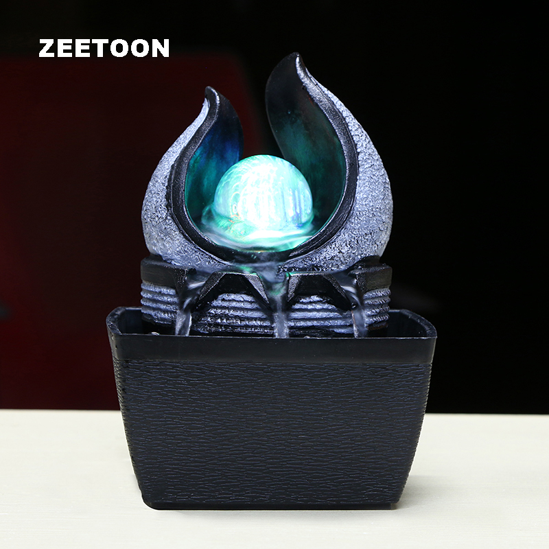110 240v brief resin water flowing cycle fountain office led light desktop feng shui lucky - Kamers water ...