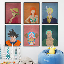 Dragon Ball Goku One Piece Luffy Vintage Poster Wall Art Canvas Painting Nordic Posters And Prints Pictures Kids Room Decor