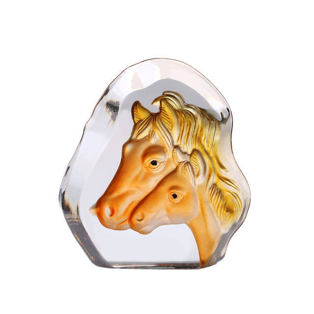 K9 Crystal Cube Figurine Horse Model Crystal Ornaments Gift 3D Laser Engraved Crafts Glass Figurines Crafts Souvenirs