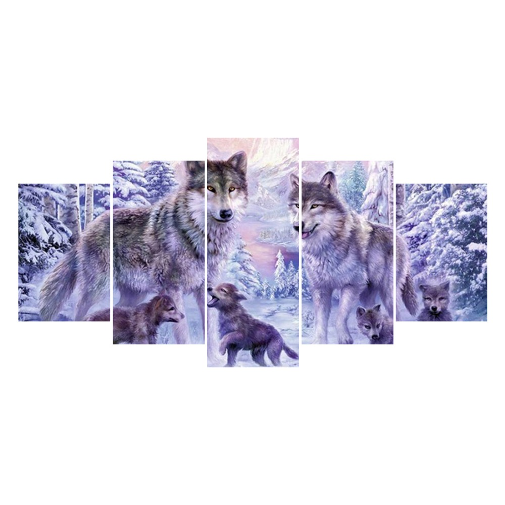 5pcs Multi picture Diamond Embroidery Wolf 5D DIY Diamond Painting Full Square Diamond Mosaic Animals Pictures HYY