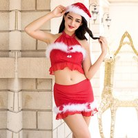 2019 New Christmas Costume Set With Hat Red Solid Sexy Hot Festival Fancy Dress Clubwear Adult Game Santa Clause rope play