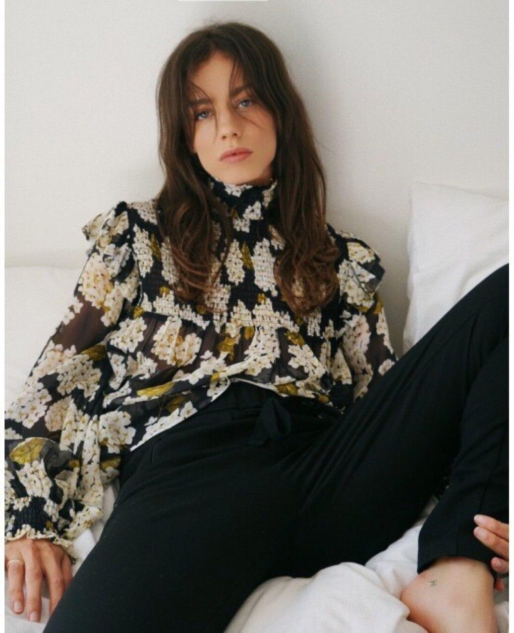 hydrangea Silk shirt pleated bract collar long sleeve shirt