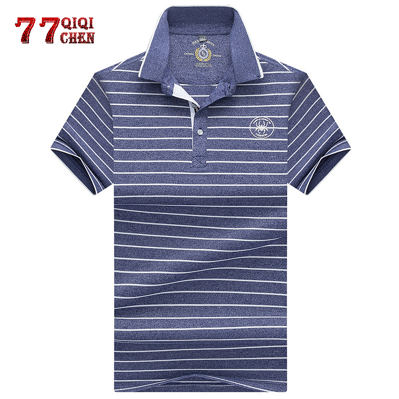 brand printed lapel short-sleeved   Polo   shirt 2019 summer new style business casual fashion men's striped   Polo   shirt eden park