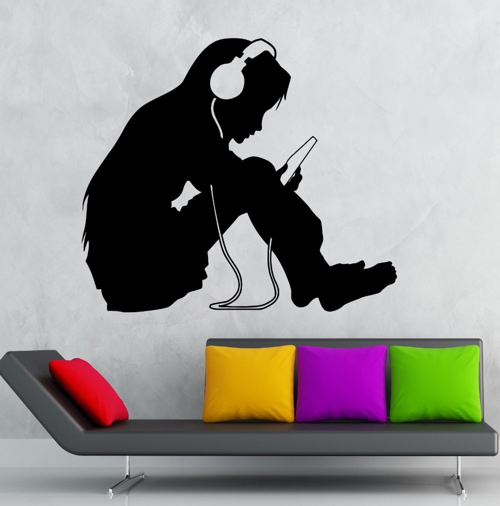 Free Shipping Wall Sticker Vinyl Decal Teen Girl Wall Stickers Headphones  Music Kids Room Nursery Vinyl Decal Home Decoration