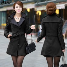 Fashion Women Casual Solid Wool Blend Long Coat Trench Outwear With Belt