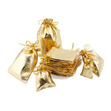 200 шт/лот сумки на шнурке из серебряной золотой фольги маленькие