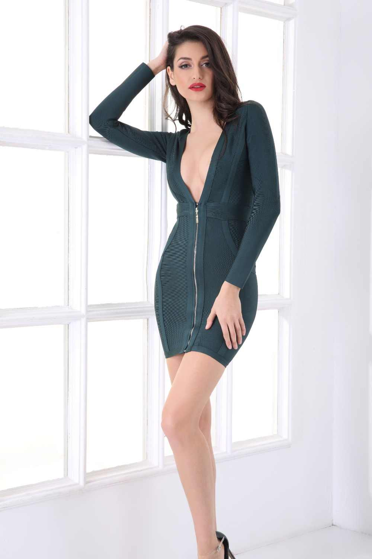 ... 2019 HL Green Winter Zipper Cheap Plunging Neckline Plunge Neck Bandage  Long Sleeve Dress Deep V ... e3e94f084e40