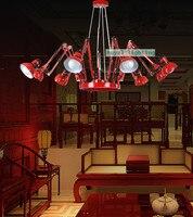 Salıncak kolu Yenilik Örümcek aydınlatma avize Ofis ayarlanabilir Kırmızı siyah avize 6-Arm luminaria Ticari aydınlatma ışık