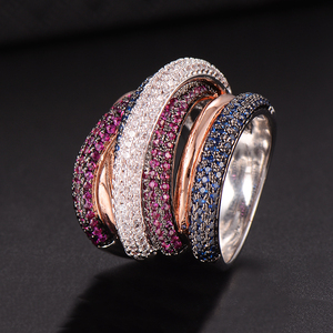 Image 3 - GODKI Berühmte Marke Luxus Kreuz Geometrie Cubic Zironium Engagement Dubai Unisex Ringe Braut Finger Ring Schmuck