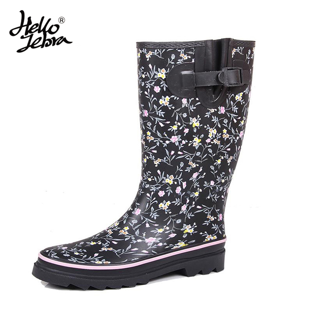 Hellozebra Women Winter Rain Boots Lady Knee High With Zip Comfortable Solid Charm Waterproof Rainboots 2017 New Fashion Design