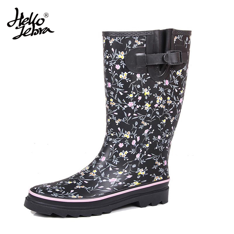 Hellozebra Women Winter Rain Boots Lady Knee High With Zip Printing Leather Comfortable Solid Charm Waterproof Floral Rainboots hellozebra women rain boots lady high shoes platform eva boots printing leather low heels waterproof buckle wearable appliques
