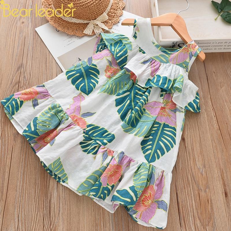 Bear Leader Girls Dresses 2018 Summer New Bohemian Style Girl Dress Cotton Soft Banana Leaf Print Ruffle Off Shoulder Dress print cold shoulder shift dress