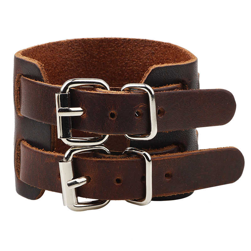 Mens Classical Double Leather Buckles Adjustable Wide Leather Bracelets,Punk Leather Bangles & Bracelets