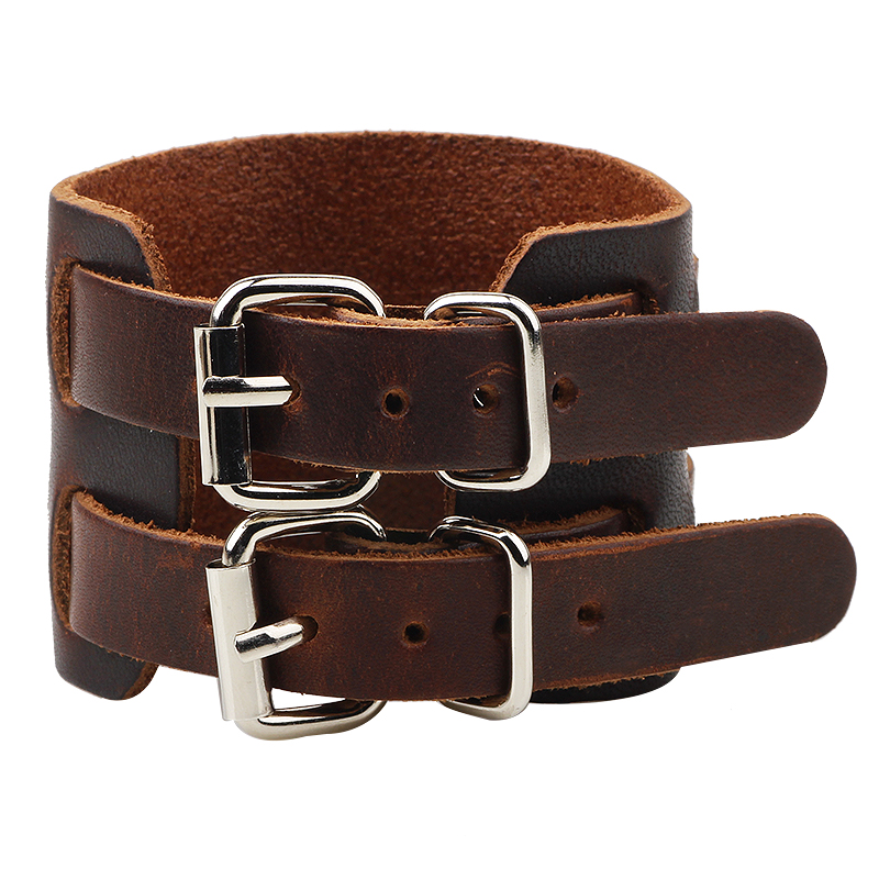 Cowboy Style Black/brown Strap Double Belt Wide Leather bracelet Adjustable Buckle Wristband Cuff Bracelets Punk Jewelry For Men Браслет
