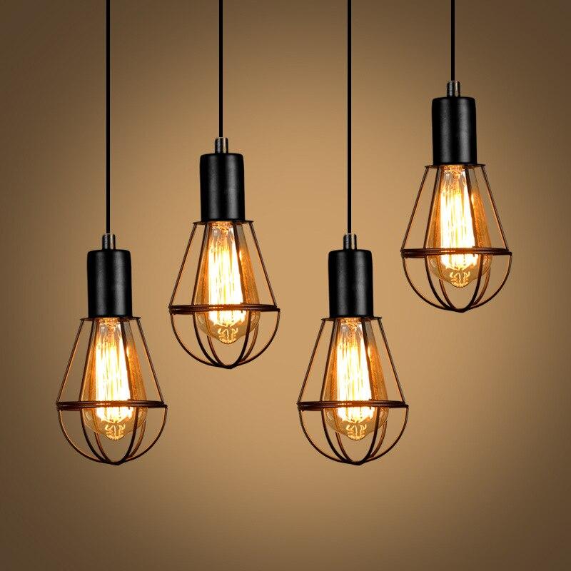 Işıklar ve Aydınlatma'ten Kolye ışıkları'de Loft endüstriyel demir su borusu buhar punk Vintage kolye lamba kablosu E27 LED kolye yatak odası lambaları bar restoran mutfak title=